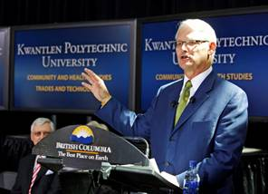 Premier Gordon Campbell announces that Kwantlen University College   will become a full university, to be called Kwantlen Polytechnic   University.